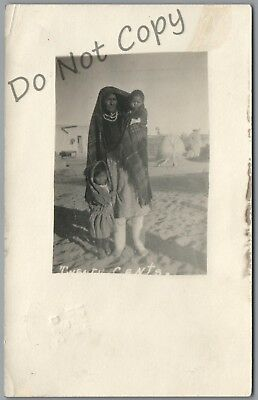 "Indian Woman & Children Begging ""twenty Cents"" 1914 P/u Rppc Postcard"