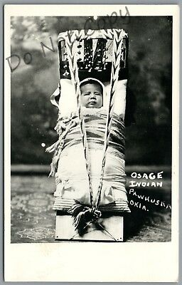 Pawhuska, Oklahoma - Osage Indian Papoose In Cradle Board - Rppc Postcard