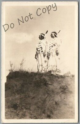 Tulsa, Oklahoma - 2 Indian Women On Hillside - 1941 P/u Rppc Postcard