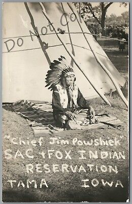 Chief Jim Powshiek, Tama, Iowa Sac & Fox Indian Reservation Rppc Postcard