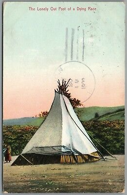 "West Butte, Montana, Indian Teepee ""lonely Out Post Of A Dying Race"" 1909 P/u Pc"