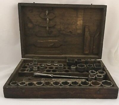 Antique Mossberg Socket Set In Original Box Plus Some Hinsdale Sockets & Ratchet