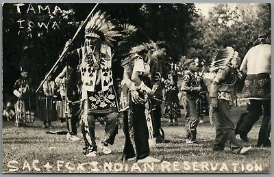 Indians At Tama, Iowa Sac & Fox Reservation, Rppc Postcard