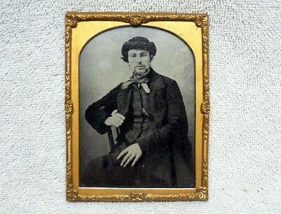 Unusual TWO-SIDED 1850's 1860's Ambrotype Photo Portrait. Antique Victorian