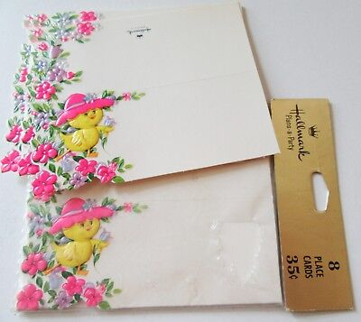 15 Vintage Easter Place Cards Hallmark Cute Chick in Pink Hat with Tulip