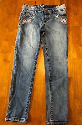 Cat & Jack Girls Size 10 Denim Jegging with Flower embroidery - USED - See pics