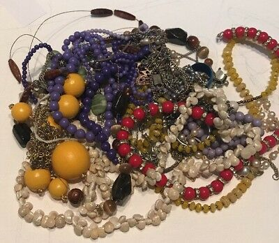 Old Lot Of Vintage Costume Jewelry Mostly Necklaces All Are Tangled