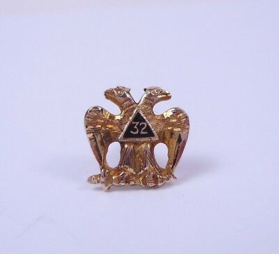 Vtg 10k Solid Gold Masonic 32nd Degree Double Eagle Lapel Pin Small 0.5g