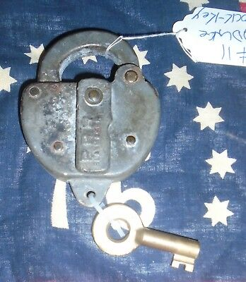 Rare Vintage Embossed Slaymaker Prr Lock Matching Stamped Brass Pcrr Key Working