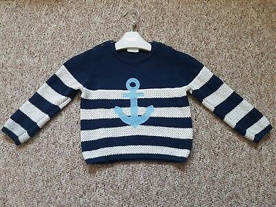 Next Boys Blue & Cream Striped Jumper Size 12-18 Months Great Condition Nautical