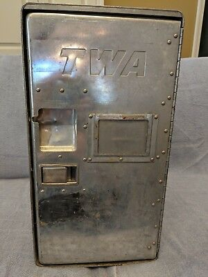 Rare Vintage 1950s TWA Airlines Food Service Locker, Trays, and Canteens