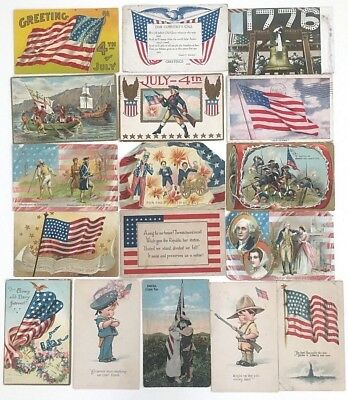 Lot of 18 Vintage Patriotic Postcards Some Holiday Crafts Damage Not Perfect