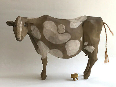 Spotted Dairy Cow - Amazing Vintage Wood Carving, artist signed - L KOOSED 1985