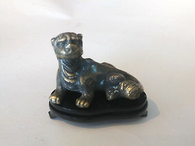 Vintage Chinese Bronze Paper Weight of Ancient Style Mythical Animal Wood Stand