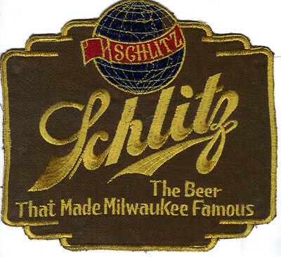 """Schlitz, The Beer That Made Milwaukee Famous 8.25""""  CUT Edge  back Patch"""