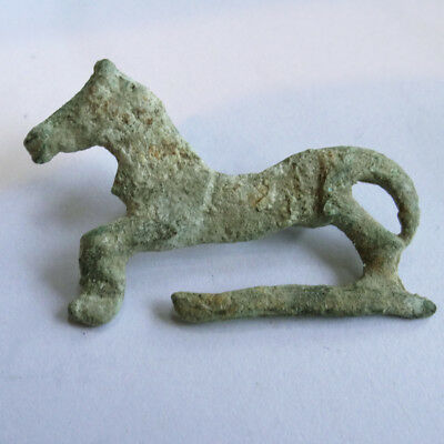 Roman Ancient Artifact Bronze Zoomorphic Fibula Brooch With Horse