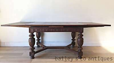 Antique French Dining Table Extension Carved Heavy Legs Superb- QN041