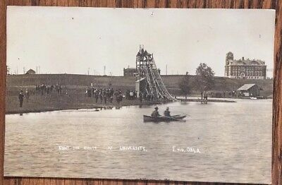 RPPC Enid Oklahoma 1910, Lake Shoot the Chute, University Postcard - Boat.