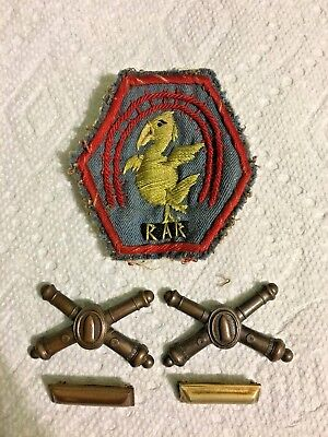 ORIGINAL WWI RAILWAY ARTILLERY RESERVE PATCH and LAPEL PINS