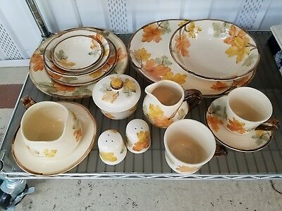 """FRANCISCAN DINNERWARE """"OCTOBER"""" SERVICE of 8-12  Brown/Yellow Leaves"""