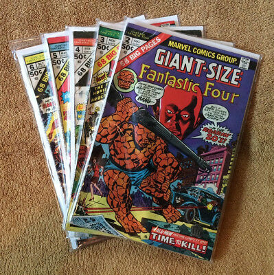 Giant-Size Fantastic Four 2,3,4,5,6 * 5 Book Lot * 1st Multiple Man Jack Kirby!