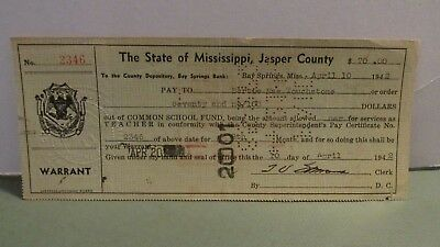 1942 Jasper County, Mississippi Payment To Schoolteacher