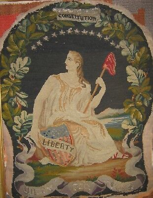 """Antique historical Civil War period needlepoint """"Liberty"""" """"Union For Ever"""" flag"""