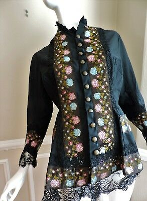 Antique 19Th Century Victorian Silk Lace Embroidered Blouse/jacket