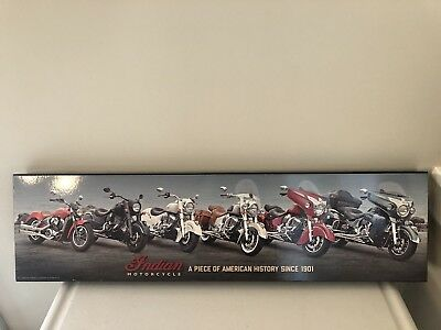 Indian Motocycle A Piece of American History Wood Sign Size 26 x 7.6 in.