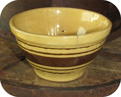 """Vintage 4"""" Child's Yellow Ware Mixing Bowl w/ Brown Bands c.1880 Rare"""