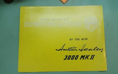 new Austin-Healey 3000 mkII preliminary specification  brochure
