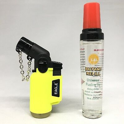 Eagle Neon YELLOW Torch Butane Lighter Windproof Adjustable Flame W/ Refill Lot