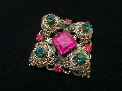 Vintage Art Deco Gold Plated Filigree Ruby Red Fuchsia Emerald Rhinestone Brooch