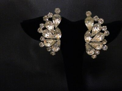 Vintage WEISS Signed HUGE Clear Glass Faceted Rhinestone Crawler Earrings