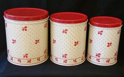 """Vintage """"Empeco"""" Red and Cream 3 Pc. Canister Set 1940's- 1950's Red Chintz"""