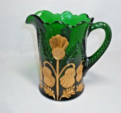 """Mosser Glass Pitcher Inverted Thistle Emerald Green with Gold 6 1/2"""" tall"""