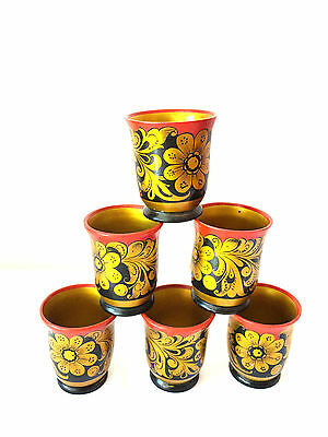 NEW Set Of 6 Russian khokhloma Wooden Hand Painted Lacquered Cups