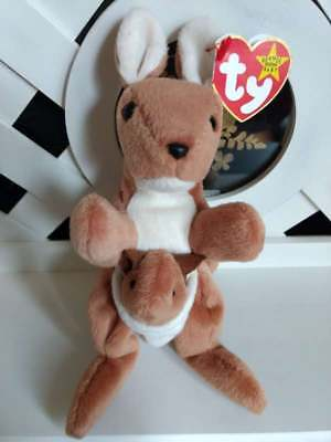 """TY Beanie Baby ~ POUCH 8"""" Kangaroo ~ NEW with Tags Retired with PE Pellets"""