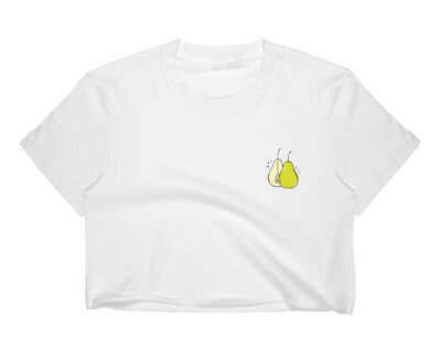 c216f259250 Pear CROP TOP T SHIRT WOMENS FUNNY HIPSTER SLOGAN CUTE LADIES SUMMER FRUIT