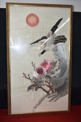 Beautiful Japanese Silk Embroidery Framed Fine Art 40x24 Vintage Antique Asian