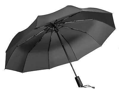 Black Windproof Umbrella, Portable Compact Travel Folding Strong Umbrella with