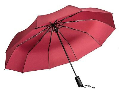 Windproof Umbrella, Red Portable Compact Travel Folding Strong Umbrella 10-rib
