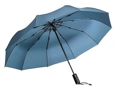 Windproof Umbrella, Navy Portable Compact Travel Folding Strong Umbrella 10-rib