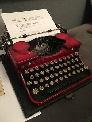 Vintage 1927 Royal Portable Typewriter Model P Rare Red/Burgundy & Orig Case