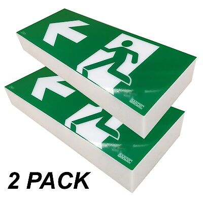 2x 10W Emergency Exit Light SIGN ONLY Sign Wall Mount Single Sided LEFT RM3