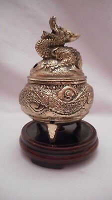 Vintage Metal Dragon Incense Burner with Wood Base