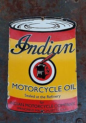 Indian Motorcycle  Vintage Porcelain Old  Advertising Sign Collectible