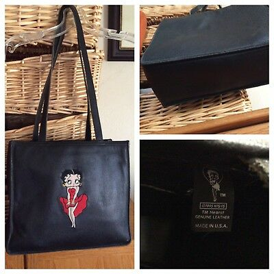 VTG 1995 Betty Boop Genuine Leather Shoulder Tote Bag Pebbled Leather U.S.A