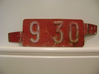 Original Red 9-30 Delaware License Plate Date Insert Tag Antique Car Vintage