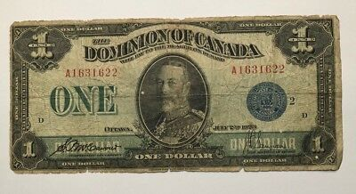 1923 Dominion of Canada $1 One Dollar Horse Blanket Banknote Bill Intact